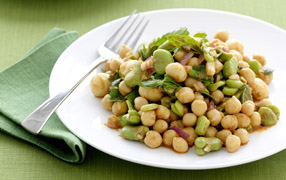 Chickpea and broad bean salad