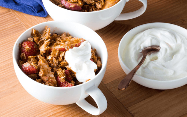Peach, strawberry and Weet-Bix™ crumble cups