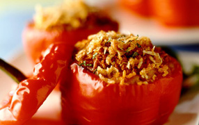 Roast capsicum cups with lentil risotto