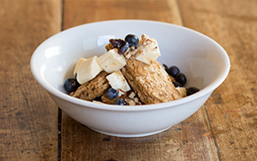 Gluten Free Weet-Bix with banana, blueberries and pecans