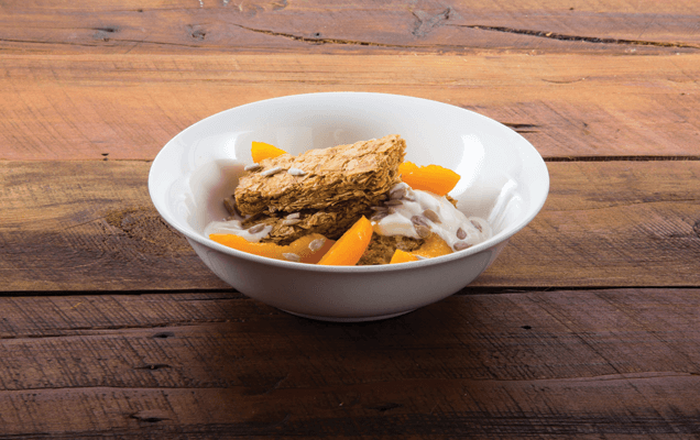 Weet-Bix™ with apricots, yoghurt and hazelnuts