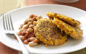 Kumara rosti with cannellini beans