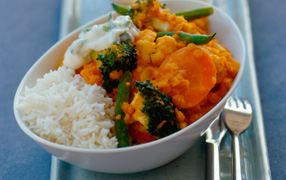 Vegetable and lentil curry with ginger yoghurt