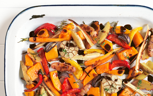 Roast veges with Marmite glaze