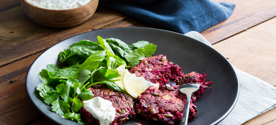 Weet-Bix™ beetroot, courgette and feta fritters