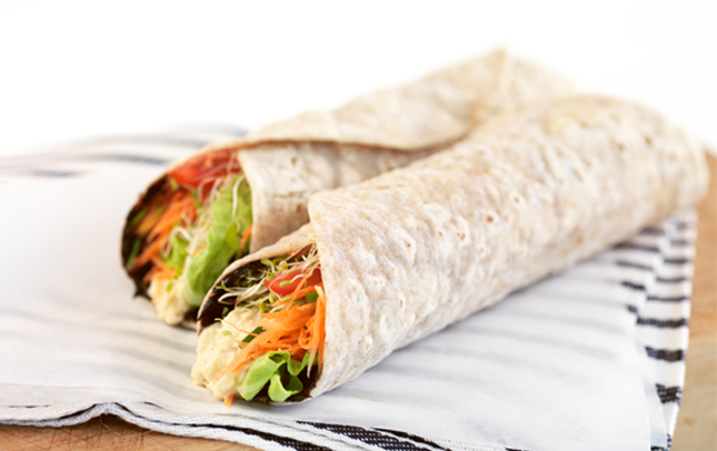 Marmite™ and hummus wraps