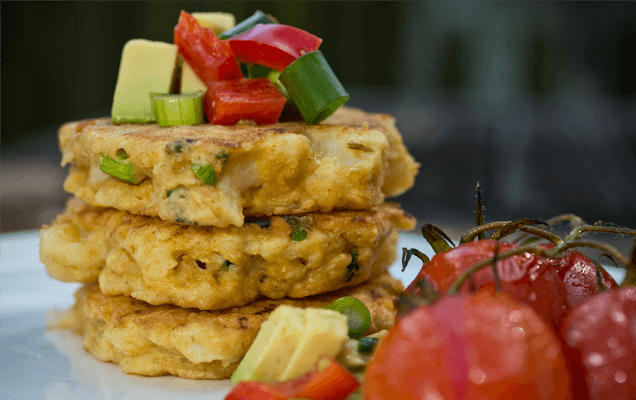 Cauliflower fritter stacks