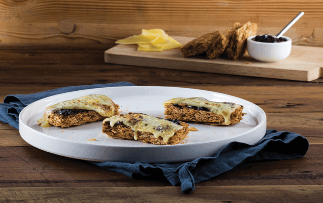 Grilled Weet-Bix™ with Marmite™ and cheese