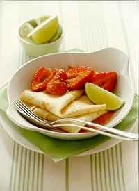 Strawberry and Lime Syrup Crepes