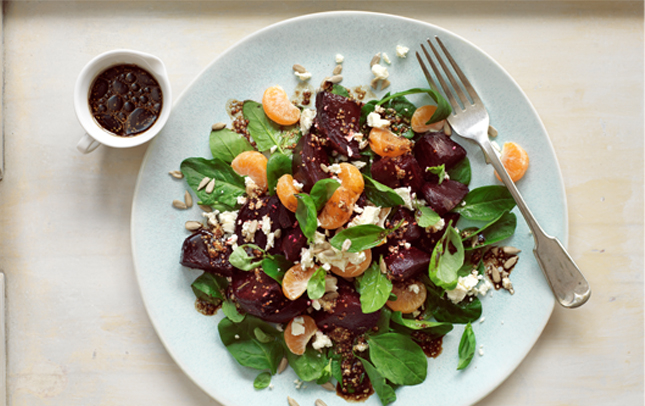 Beet and feta salad with Marmite dressing