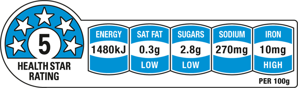 Weet-Bix Original is rated 5 out of 5 Health Stars
