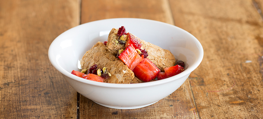 Weet-Bix™ with strawberries, cranberries and pistachios