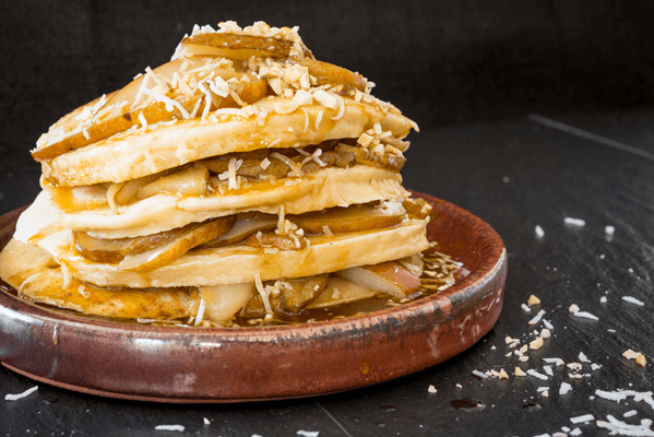 Almond Pancakes with Caramelised Pears