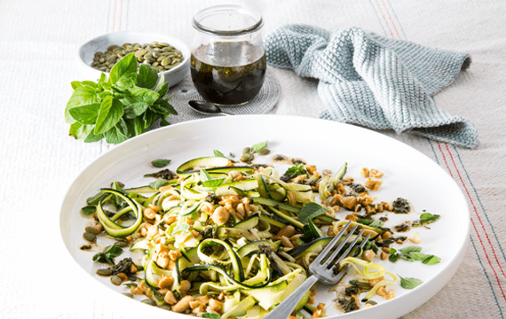 Courgette and almond salad with balsamic and oregano dressing