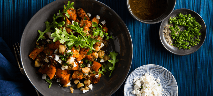 Roast pumpkin and macadamia salad