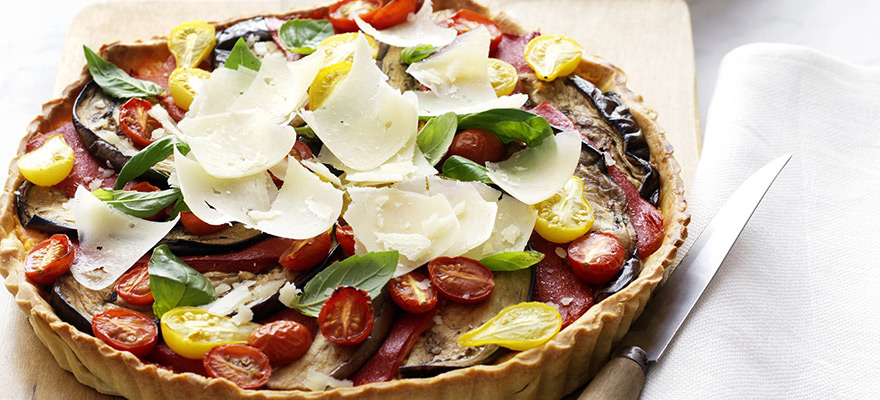 Kumara tart with grilled vegetables