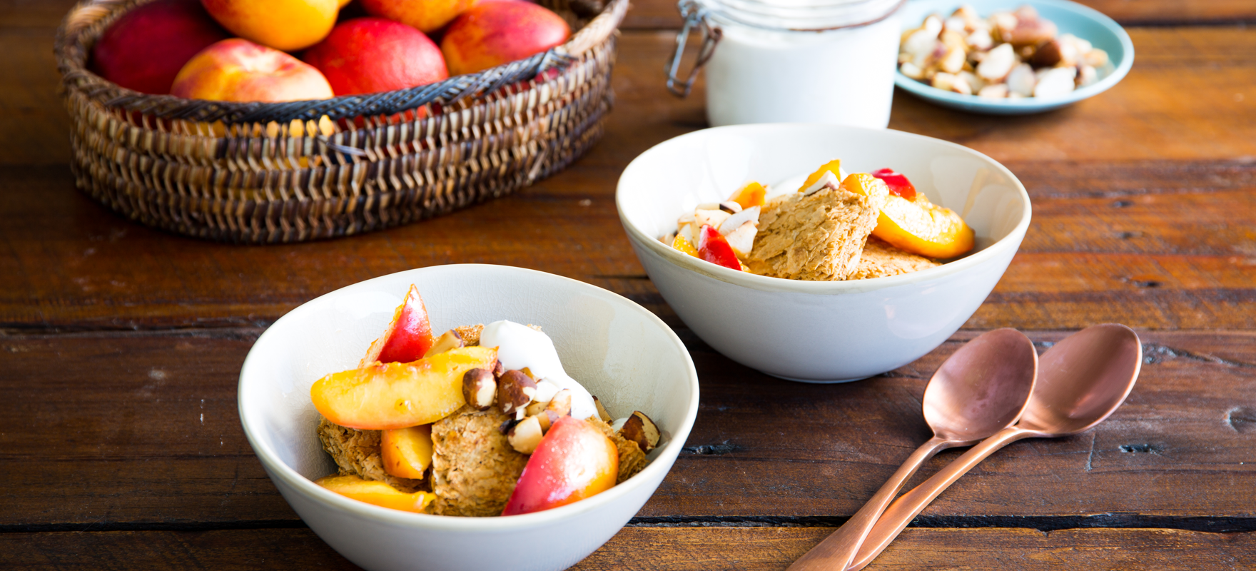 Weet-Bix™ with poached nectarines and toasted brazil nuts